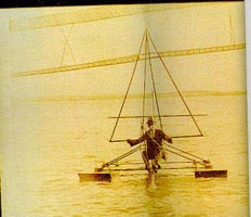 Dr. George A. Spratt towed his hang glider on floats using a motorboat. U.S.A., 1929. [99][100].