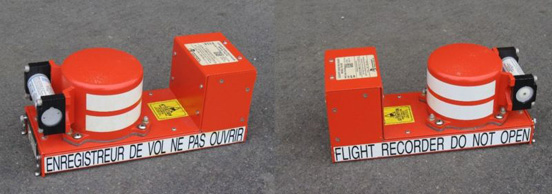 Both side views of a cockpit voice recorder, one type of flight recorder