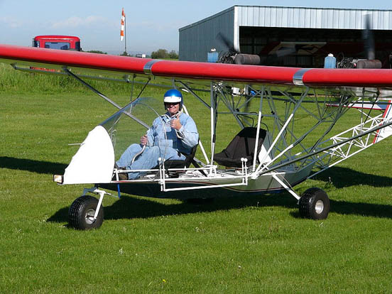 The holder of a Canadian ultra-light pilot permit prepares to fly a Blue Yonder Twin Engine EZ Flyer.