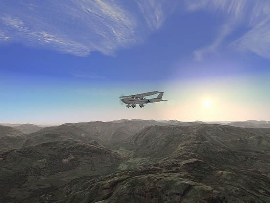 FS2004 in the UK Lake District with VFR (Visual Flight Rules) photo scenery and terrain additional components.