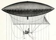 The navigable balloon created by Giffard in 1852