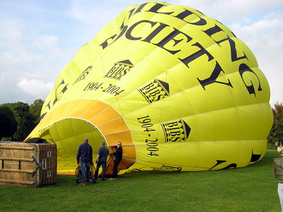 A hot air balloon is inflated at Royal Victoria Park, Bath, England