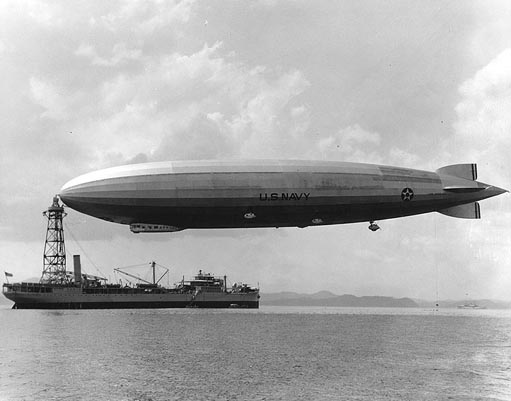 The USS Los Angeles, a US Navy zeppelin built by the Zeppelin Company.