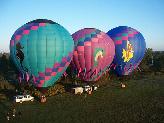 Three balloons prepare for liftoff in Orlando, Florida.