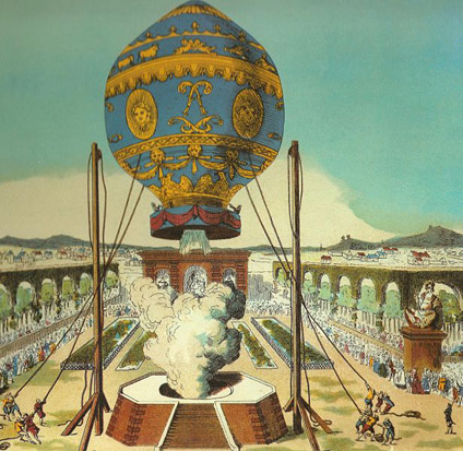 The first manned hot-air balloon, designed by the Montgolfier brothers, takes off from the Bois de Boulogne, Paris, on November 21, 1783