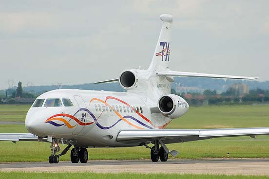 A Dassault Falcon 7X, the first business jet with digital fly-by-wire controls
