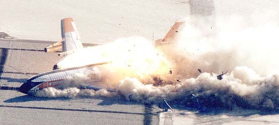 The 1984 Controlled Impact Demonstration of a Boeing 720 aircraft using standard fuel with an additive designed to suppress fire. The aircraft caught fire. Results show less fire damage than would have been expected without the additive.