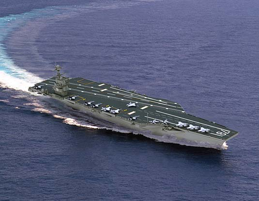 Virtual depiction of the new US Navy Gerald R. Ford-class carrier