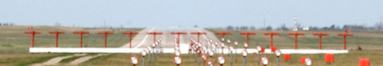 Localizer array and approach lighting at Whiteman Air Force Base, Johnson County, Missouri.