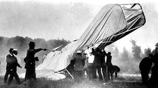 The first powered fixed-wing aircraft fatality in history occurred in 1908 when Lt. Thomas Selfridge was killed in this plane piloted by Orville Wright. (17 September 1908) Photo by C. H. Claudy.