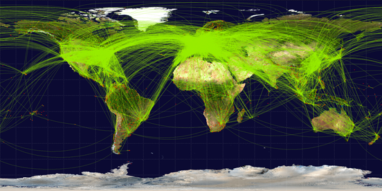 Map of scheduled airline traffic in 2009