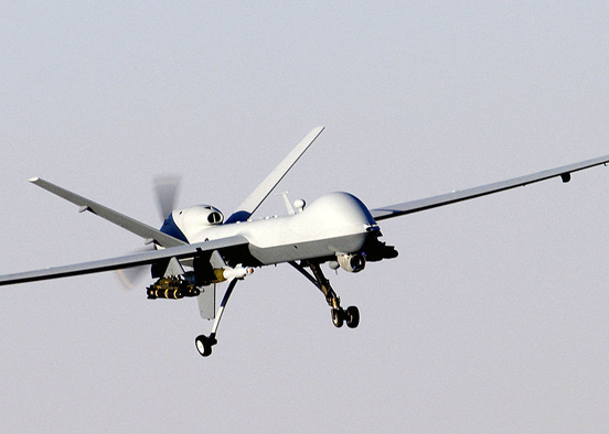 A MQ-9 Reaper, a hunter-killer surveillance UAV used by the United States Armed Forces and British Armed Forces, especially in Iraq and Afghanistan.