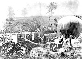 The Union Army Balloon Intrepid being inflated from the gas generators for the Battle of Fair Oaks