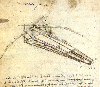 A drawing of a design for a flying machine by Leonardo da Vinci (c. 1488). This machine was an ornithopter, with flapping wings similar to a bird, first appeared in his Codex on the Flight of Birds in 1505.