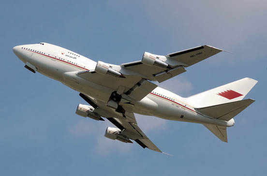 Bahrain Royal Flight 747SP climbing. The undercarriages have not yet fully retracted.