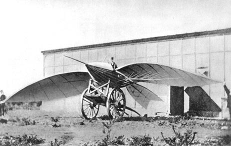 Jean-Marie Le Bris and his flying machine, Albatros II, 1868.