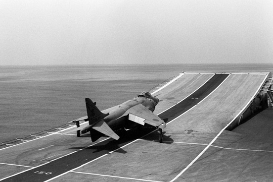 The ski-jump on Royal Navy carrier HMS Invincible (R05)