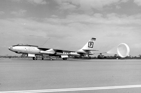 Boeing B-47B-40BW (AF Serial No. 51-2212) of the 306th Bomb Wing (Medium) at MacDill AFB, FL landing with drag chute