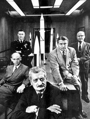 Hermann Oberth (in front) with fellow ABMA employees. Left to right: Dr. Ernst Stuhlinger, Major General Holger Toftoy, Oberth, Dr. Wernher von Braun, and Dr. Robert Lusser.