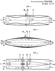 Albert Fonó's German patent for jet Engines (January 1928). The third illustration is a turbojet
