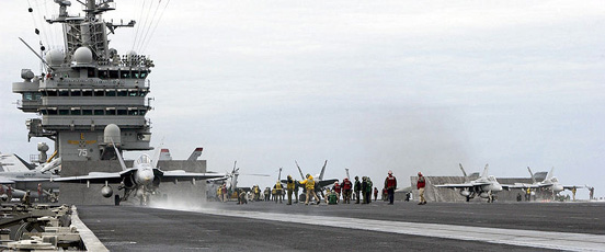 F/A-18 Hornets on the flight deck of the Nimitz-class supercarrier Harry S. Truman