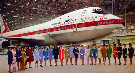 Uniformed flight attendants representing each of the 747's initial 26 airline customers during rollout ceremony