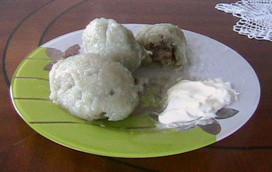 Cepelinai is a Lithuanian national dish named after Zeppelin