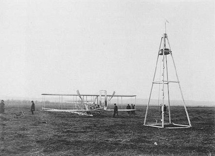 Wright Model A Flyer flown by Wilbur 1908-09 and launching derrick, France, 1909