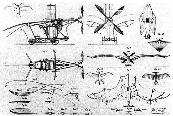 Patent drawings of Clément Ader's Eole, which accomplished the first self-propelled flight in history.