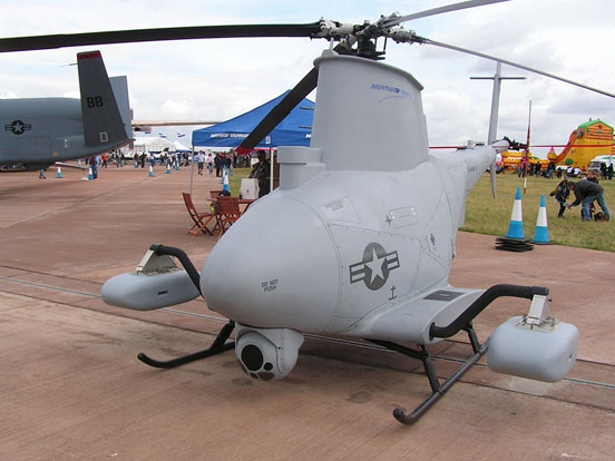Although most UAVs are fixed-wing aircraft, rotorcraft designs such as this MQ-8B Fire Scout also exist.