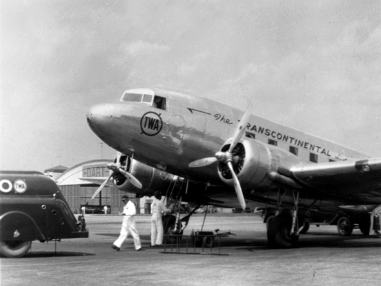 TWA Douglas DC-3 in 1940. The DC-3, often regarded as one of the most influential aircraft in the history of commercial aviation, revolutionized the aviation industry.