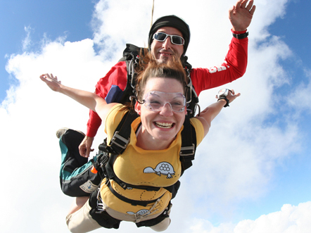 A tandem instructor and a student skydiving together