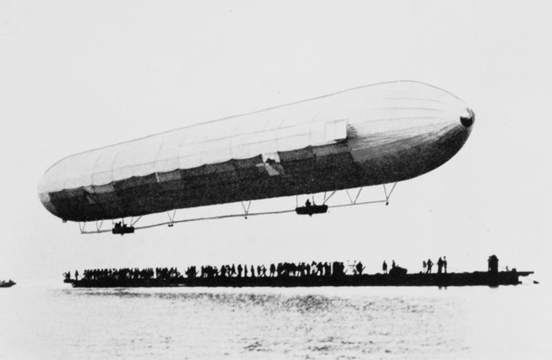 The first ascent of LZ1 over Lake Constance (the Bodensee) in 1900.