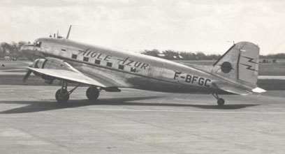Douglas C-47B of Aigle Azur (France) in 1953, fitted with a ventral Turbomeca Palas booster jet for hot and high operations.