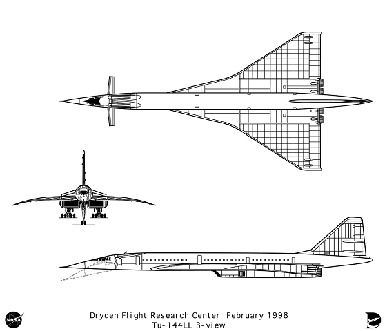 Orthographically projected diagram of the Tu-144LL
