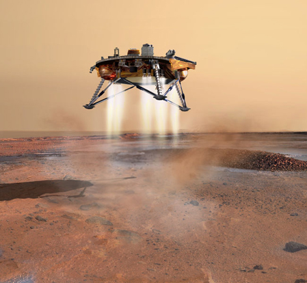 Artist's conception of the Phoenix spacecraft as it lands on Mars