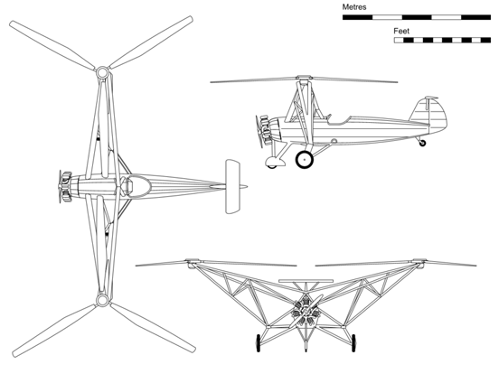 Orthographic projection of the Fw 61 V2