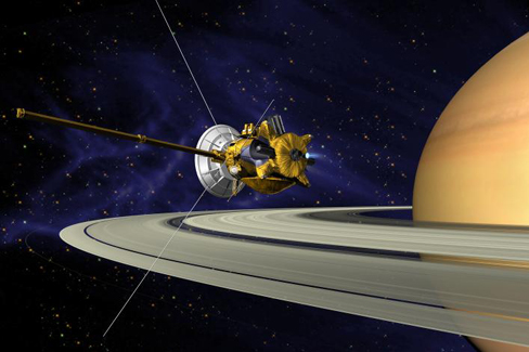 Artist's conception of Cassini-Huygens as it enters Saturn's orbit