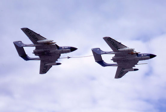 de Havilland Sea Vixens probe-and-drogue refuelling at a 1960s Farnborough Air Show
