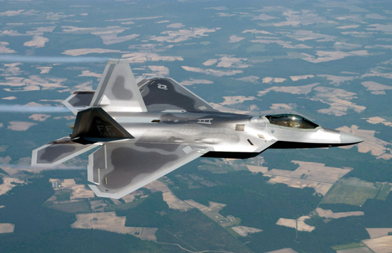 USAF F-22 Raptor stealth fighter of the 27th Fighter Squadron .