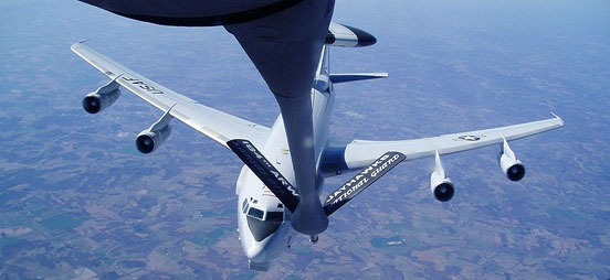 USAF AWACS approaches a KC-135R