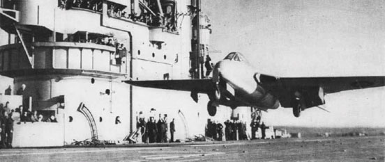 The first carrier landing and take-off of a jet aircraft: Eric