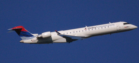 A Bombardier CRJ700 in Delta Connection livery.