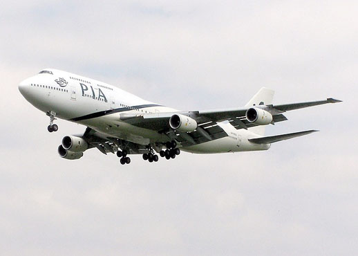 Pakistan International Airlines (PIA) 747-300 on final approach to London Heathrow Airport