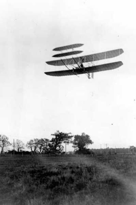 Wright Flyer III piloted by Orville over Huffman Prairie, October 4, 1905. Flight #46, covering 20 and 3/4 miles in 33 minutes 17 seconds; last photographed flight of the year