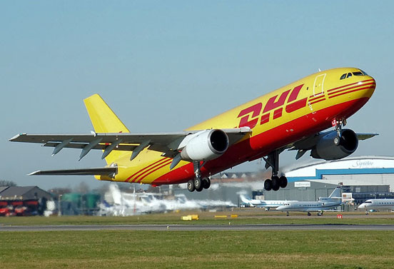 European Air Transport (EAT) Airbus A300B4F. EAT is a subsidiary of DHL Aviation, one of the world's largest cargo airline companies.