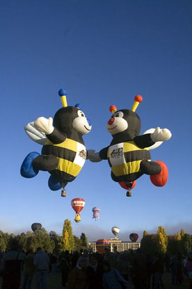 Hot air balloons shaped as bees