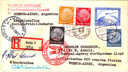 Cover carried on the First 1934 South America Flight of the 10 flown that season.