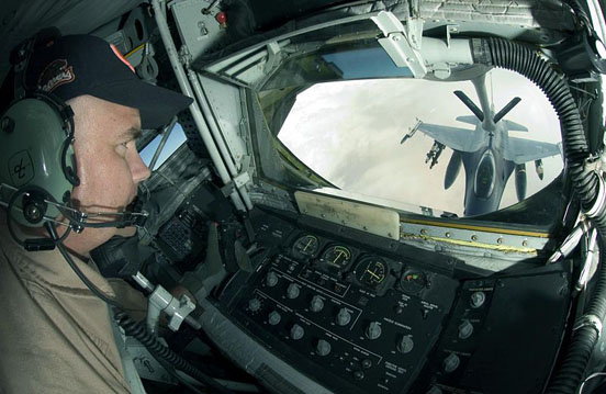 USAF KC-135R boom operator view