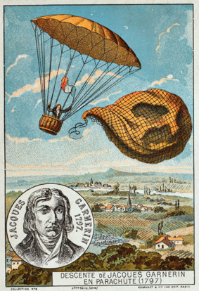 First use of a frameless parachute, by André Garnerin in 1797